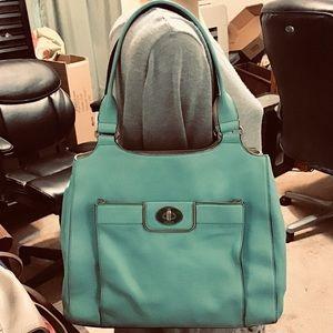 Kate Spade large green leather shoulder bag